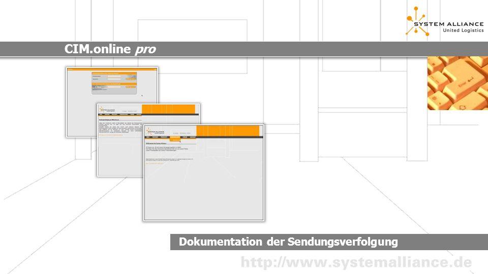 Dokumentation der Sendungsverfolgung CIM.online pro