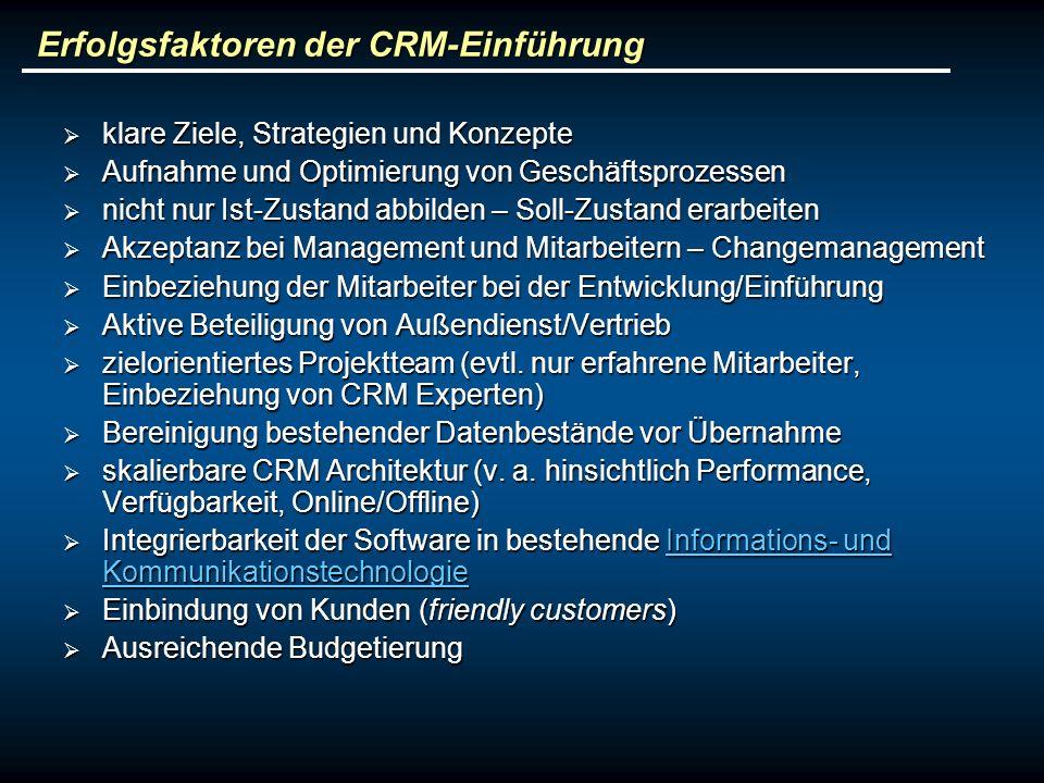Erfolgsfaktoren der CRM-Einführung klare Ziele, Strategien und Konzepte klare Ziele, Strategien und Konzepte Aufnahme und Optimierung von Geschäftspro