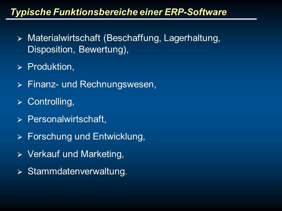 Typische Funktionsbereiche einer ERP-Software Materialwirtschaft (Beschaffung, Lagerhaltung, Disposition, Bewertung), Produktion, Finanz- und Rechnung