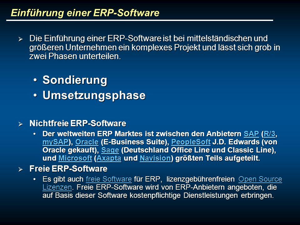 Einführung einer ERP-Software Die Einführung einer ERP-Software ist bei mittelständischen und größeren Unternehmen ein komplexes Projekt und lässt sich grob in zwei Phasen unterteilen.