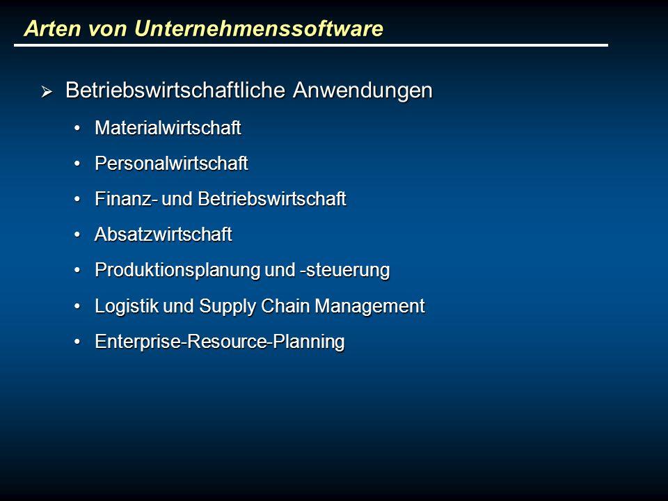 Arten von Unternehmenssoftware Betriebswirtschaftliche Anwendungen Betriebswirtschaftliche Anwendungen MaterialwirtschaftMaterialwirtschaft Personalwi