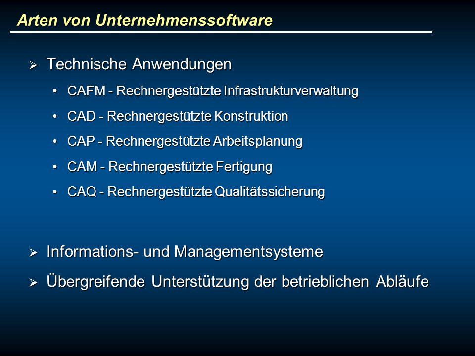 Arten von Unternehmenssoftware Technische Anwendungen Technische Anwendungen CAFM - Rechnergestützte InfrastrukturverwaltungCAFM - Rechnergestützte Infrastrukturverwaltung CAD - Rechnergestützte KonstruktionCAD - Rechnergestützte Konstruktion CAP - Rechnergestützte ArbeitsplanungCAP - Rechnergestützte Arbeitsplanung CAM - Rechnergestützte FertigungCAM - Rechnergestützte Fertigung CAQ - Rechnergestützte QualitätssicherungCAQ - Rechnergestützte Qualitätssicherung Informations- und Managementsysteme Informations- und Managementsysteme Übergreifende Unterstützung der betrieblichen Abläufe Übergreifende Unterstützung der betrieblichen Abläufe