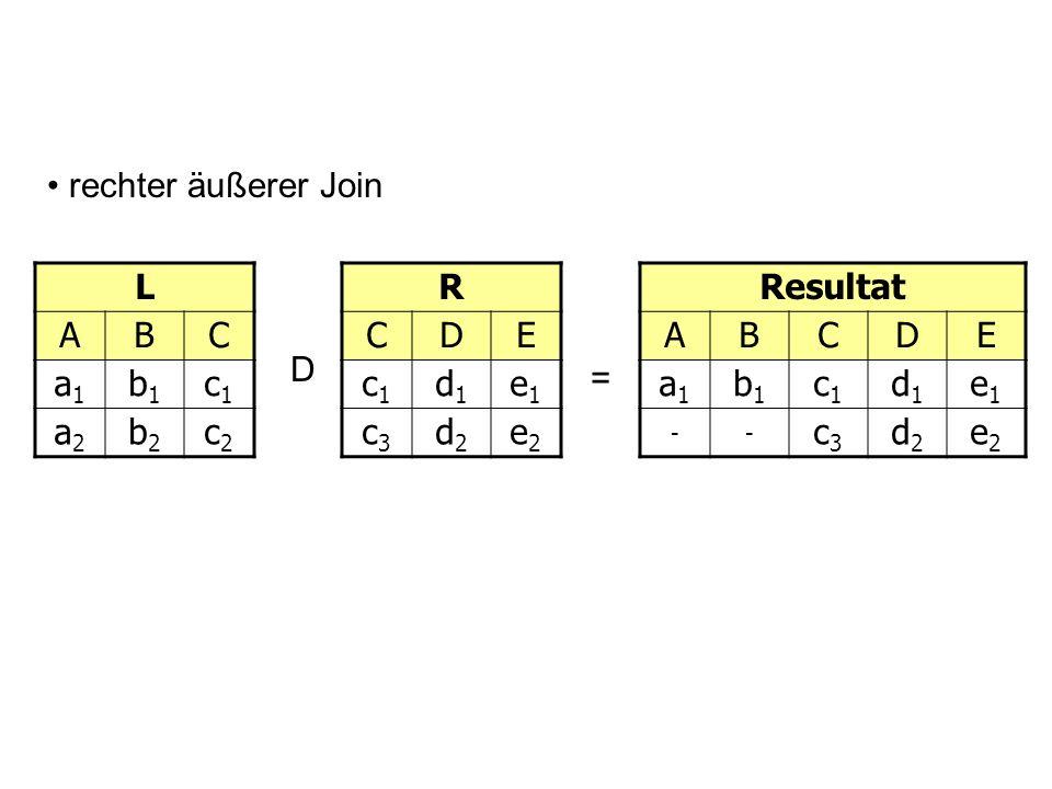 L ABC a1a1 b1b1 c1c1 a2a2 b2b2 c2c2 D = rechter äußerer Join R CDE c1c1 d1d1 e1e1 c3c3 d2d2 e2e2 Resultat ABCDE a1a1 b1b1 c1c1 d1d1 e1e1 -- c3c3 d2d2
