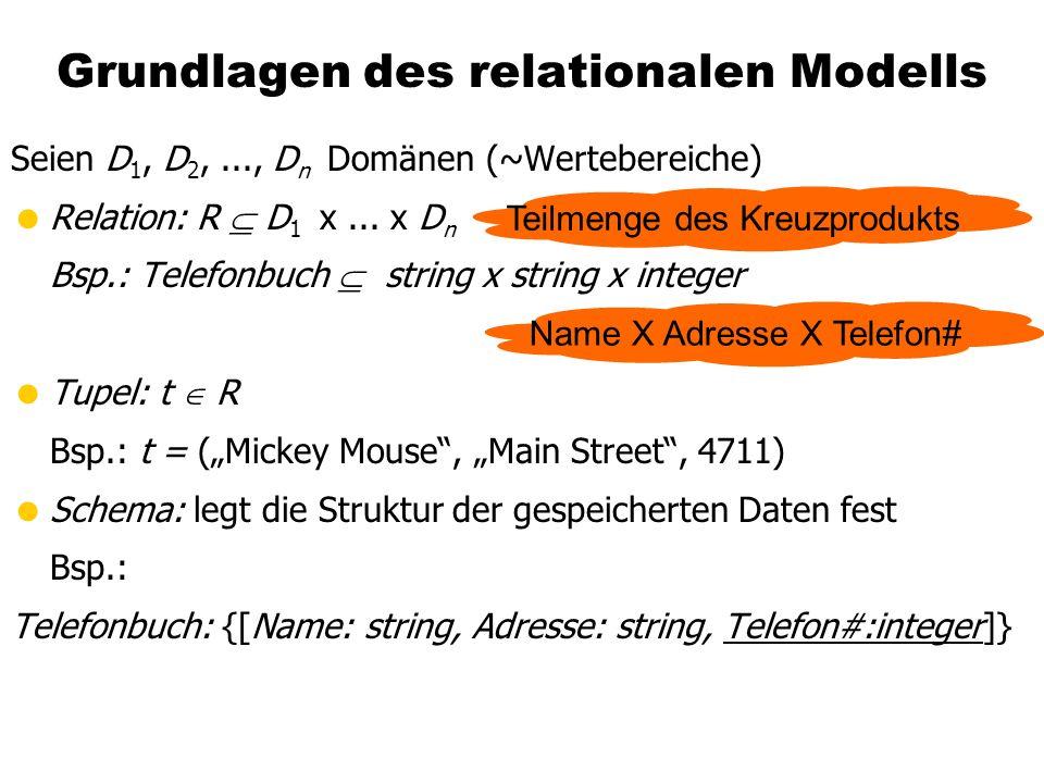 Grundlagen des relationalen Modells Seien D 1, D 2,..., D n Domänen (~Wertebereiche) Relation: R D 1 x... x D n Bsp.: Telefonbuch string x string x in