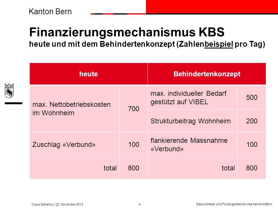 Kanton Bern Claus Detreköy Abteilung Erwachsene Gesundheits-und Fürsorgedirektion des Kantons Bern Alters- und Behindertenamt Rathausgasse 1 Telefon Telefax E-Mail +41 (31) 633 78 80 +41 (31) 633 40 19 claus.detrekoey@gef.be.ch Leiter Gesundheits- und Fürsorgedirektion des Kantons Bern 3011 Bern Gesundheits- und Fürsorgedirektion des Kantons Bern Kanton Bern Es werden künftig weniger finanzielle Mittel pro betroffene Person zur Verfügung stehen.