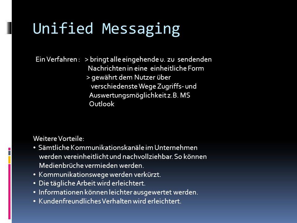 Unified Messaging Ein Verfahren : > bringt alle eingehende u. zu sendenden Nachrichten in eine einheitliche Form > gewährt dem Nutzer über verschieden