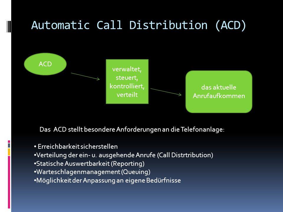 Automatic Call Distribution (ACD) Das ACD stellt besondere Anforderungen an die Telefonanlage: Erreichbarkeit sicherstellen Verteilung der ein- u. aus