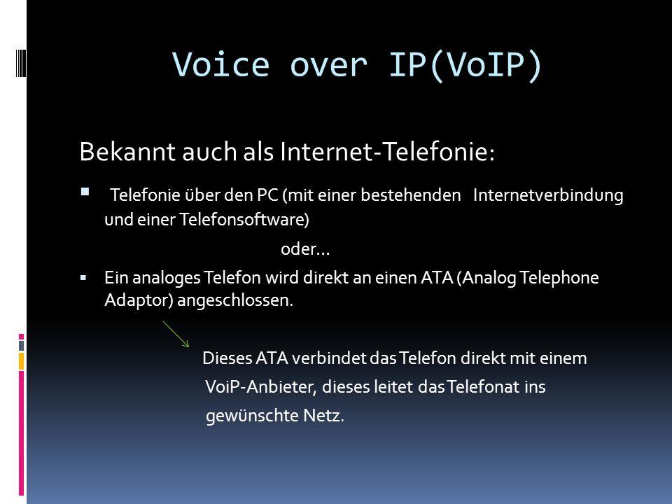 Voice over IP(VoIP) Bekannt auch als Internet-Telefonie: Telefonie über den PC (mit einer bestehenden Internetverbindung und einer Telefonsoftware) oder… Ein analoges Telefon wird direkt an einen ATA (Analog Telephone Adaptor) angeschlossen.