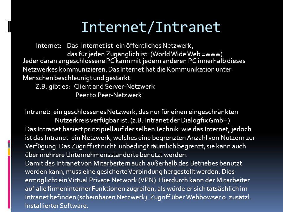 Internet/Intranet Internet: Das Internet ist ein öffentliches Netzwerk, das für jeden Zugänglich ist. (World Wide Web =www) Intranet: ein geschlossene