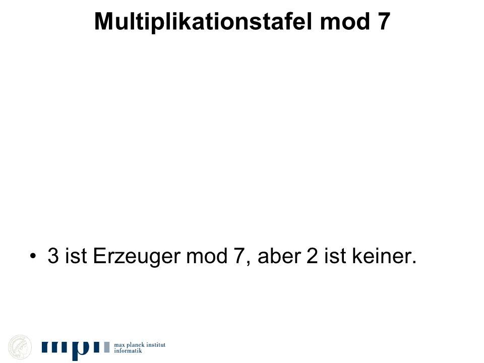 Multiplikationstafel mod 7 3 ist Erzeuger mod 7, aber 2 ist keiner.