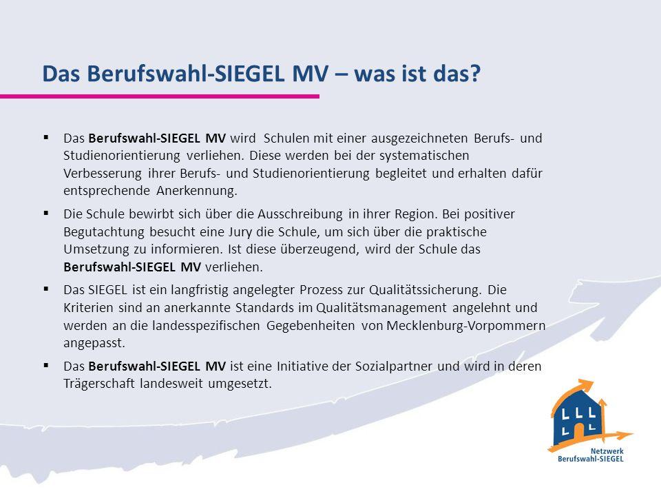 Das Berufswahl-SIEGEL MV – was ist das? Das Berufswahl-SIEGEL MV wird Schulen mit einer ausgezeichneten Berufs- und Studienorientierung verliehen. Die