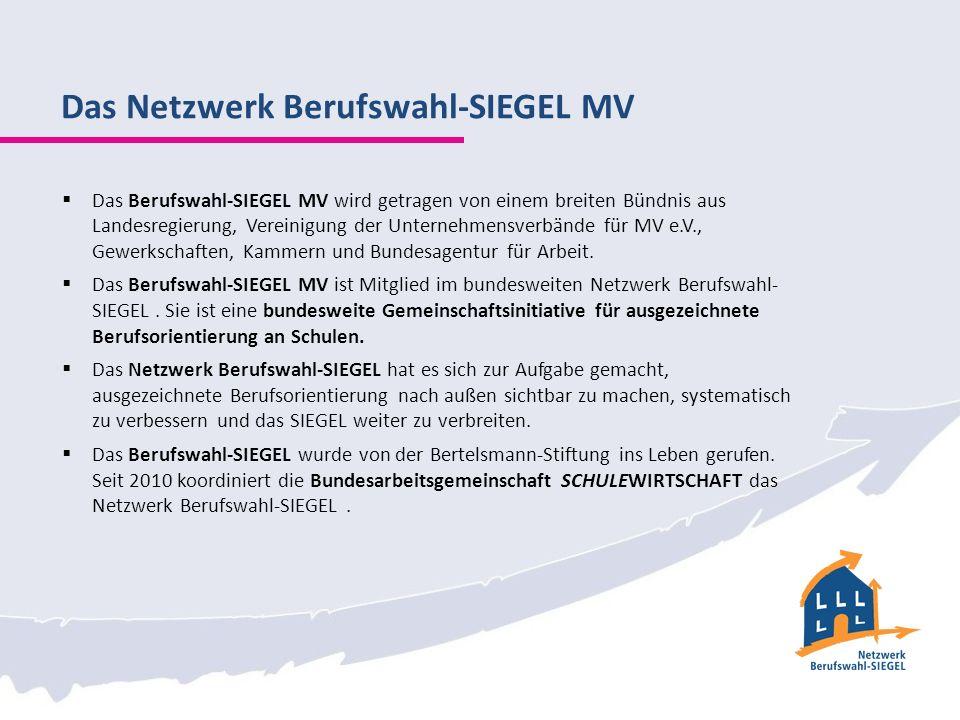 Das Netzwerk Berufswahl-SIEGEL MV Das Berufswahl-SIEGEL MV wird getragen von einem breiten Bündnis aus Landesregierung, Vereinigung der Unternehmensverbände für MV e.V., Gewerkschaften, Kammern und Bundesagentur für Arbeit.