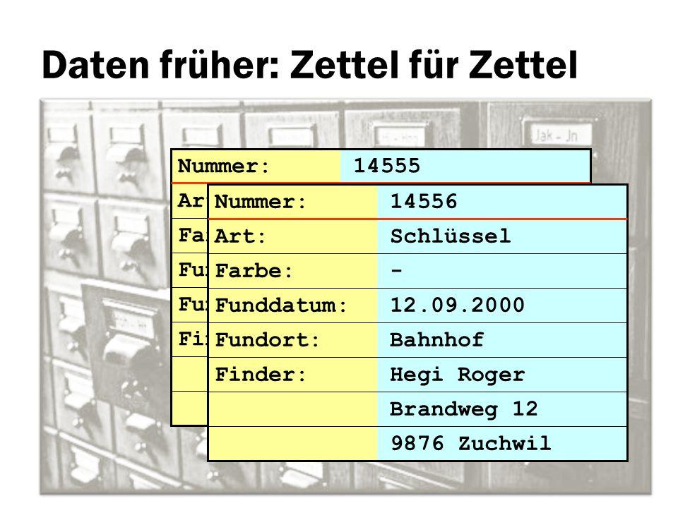 Daten früher: Zettel für Zettel Brandweg 12 Nummer: 14555 Art: Schlüssel Farbe: - Funddatum: 12.09.2000 Fundort: Bahnhof 9876 Zuchwil Finder: Hegi Rog