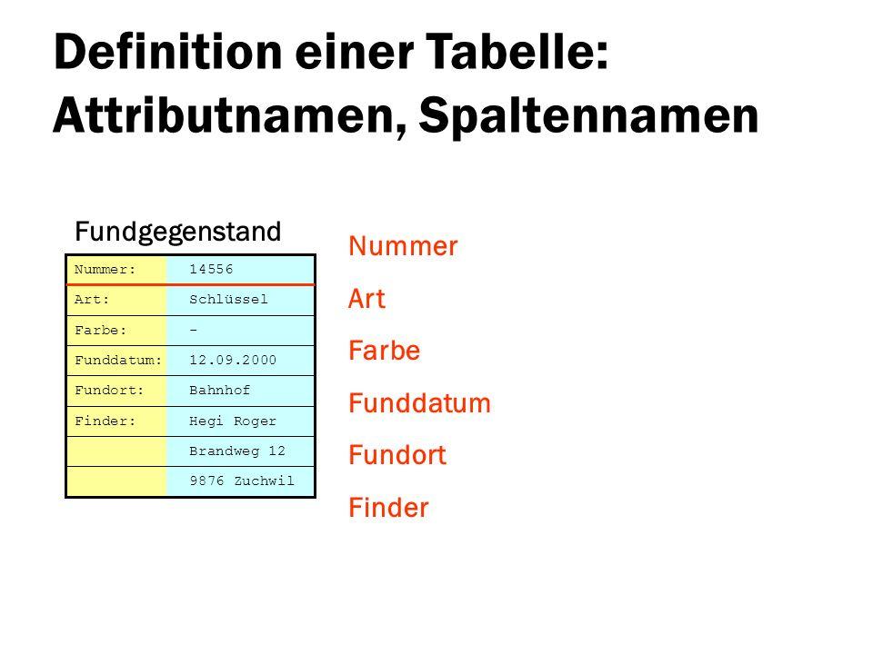 Definition einer Tabelle: Attributnamen, Spaltennamen Nummer Art Farbe Funddatum Fundort Finder Brandweg 12 Nummer: 14556 Art: Schlüssel Farbe: - Fund