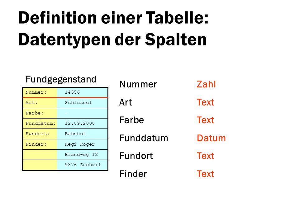 Definition einer Tabelle: Datentypen der Spalten Nummer Art Farbe Funddatum Fundort Finder Brandweg 12 Nummer: 14556 Art: Schlüssel Farbe: - Funddatum