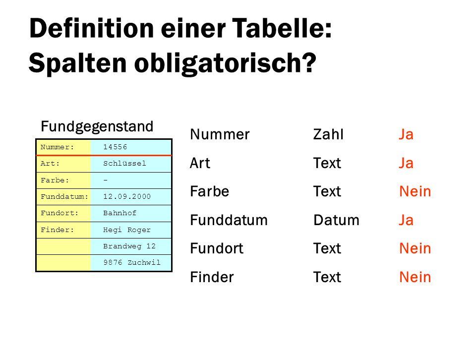 Definition einer Tabelle: Spalten obligatorisch? Nummer Art Farbe Funddatum Fundort Finder Brandweg 12 Nummer: 14556 Art: Schlüssel Farbe: - Funddatum