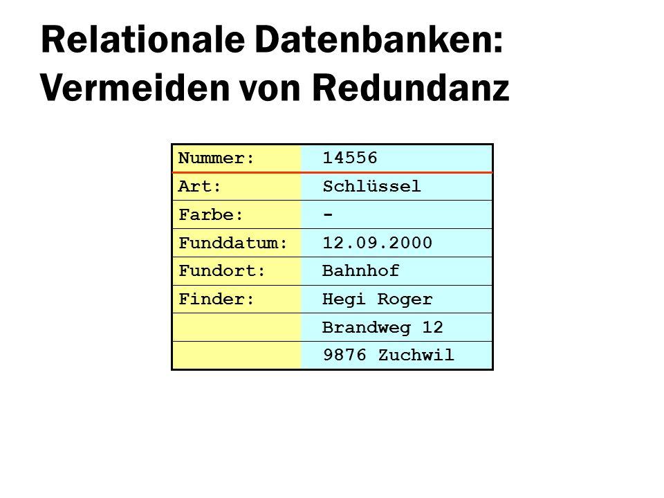 Relationale Datenbanken: Vermeiden von Redundanz Brandweg 12 Nummer: 14556 Art: Schlüssel Farbe: - Funddatum: 12.09.2000 Fundort: Bahnhof 9876 Zuchwil