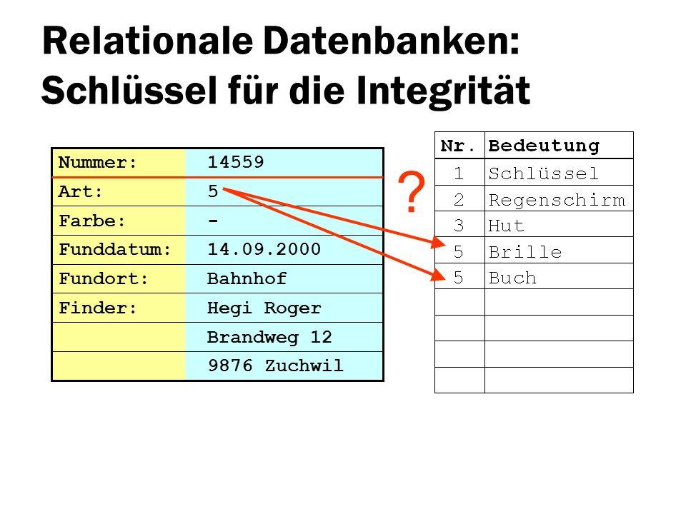 Relationale Datenbanken: Schlüssel für die Integrität Brandweg 12 Nummer: 14559 Art: 5 Farbe: - Funddatum: 14.09.2000 Fundort: Bahnhof 9876 Zuchwil Fi