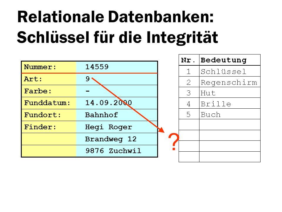 Relationale Datenbanken: Schlüssel für die Integrität Brandweg 12 Nummer: 14559 Art: 9 Farbe: - Funddatum: 14.09.2000 Fundort: Bahnhof 9876 Zuchwil Fi