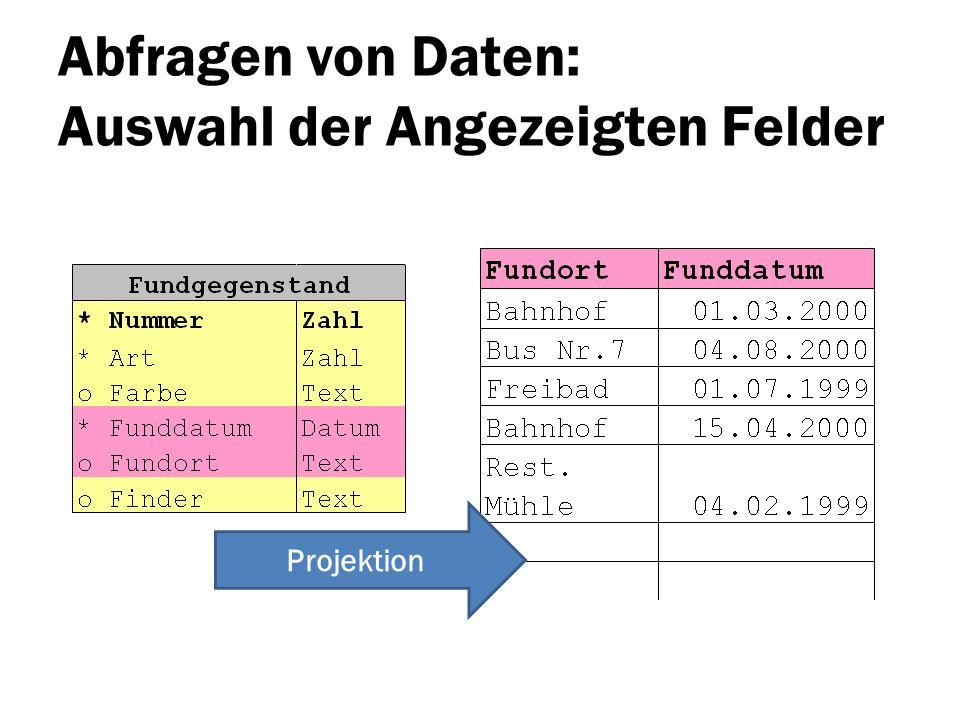 Abfragen von Daten: Auswahl der Angezeigten Felder Projektion