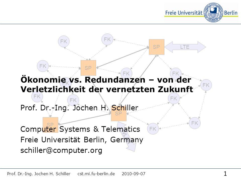 1 Prof. Dr.-Ing. Jochen H. Schiller cst.mi.fu-berlin.de 2010-09-07 FK SP FK SP LTE WLAN FK Ökonomie vs. Redundanzen – von der Verletzlichkeit der vern