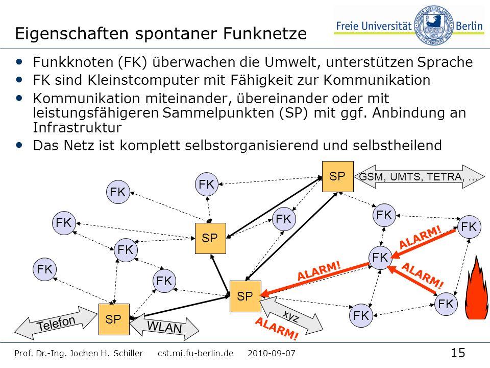 15 Eigenschaften spontaner Funknetze Funkknoten (FK) überwachen die Umwelt, unterstützen Sprache FK sind Kleinstcomputer mit Fähigkeit zur Kommunikati