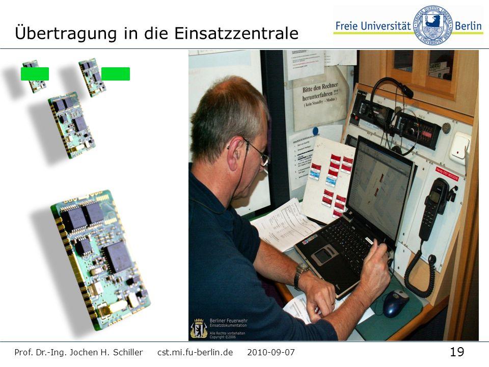 19 Prof. Dr.-Ing. Jochen H. Schiller cst.mi.fu-berlin.de 2010-09-07 Übertragung in die Einsatzzentrale