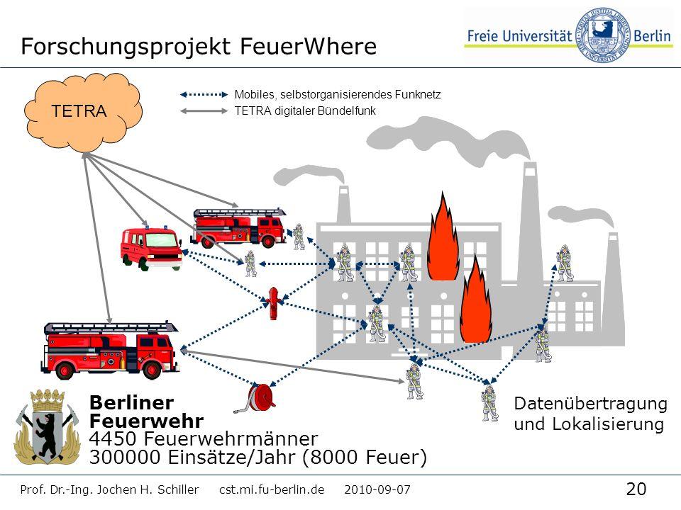 20 Prof. Dr.-Ing. Jochen H. Schiller cst.mi.fu-berlin.de 2010-09-07 Forschungsprojekt FeuerWhere TETRA Mobiles, selbstorganisierendes Funknetz TETRA d