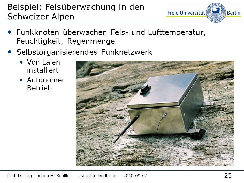 23 Prof. Dr.-Ing. Jochen H. Schiller cst.mi.fu-berlin.de 2010-09-07 Beispiel: Felsüberwachung in den Schweizer Alpen Funkknoten überwachen Fels- und L