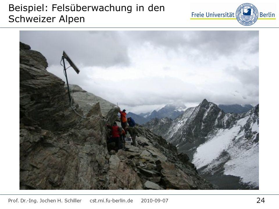 24 Prof. Dr.-Ing. Jochen H. Schiller cst.mi.fu-berlin.de 2010-09-07 Beispiel: Felsüberwachung in den Schweizer Alpen