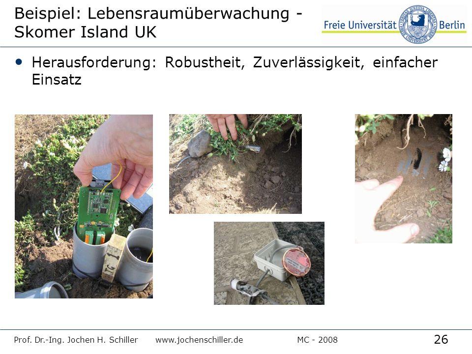 26 Prof. Dr.-Ing. Jochen H. Schillerwww.jochenschiller.deMC - 2008 Beispiel: Lebensraumüberwachung - Skomer Island UK Herausforderung: Robustheit, Zuv