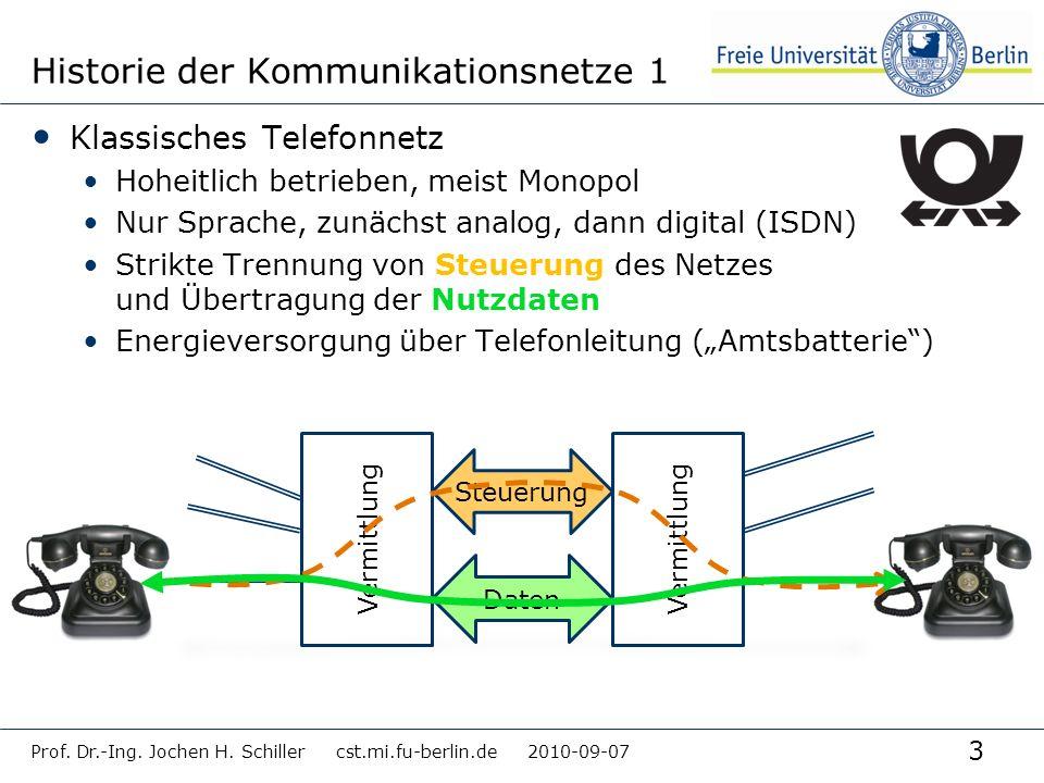 3 Historie der Kommunikationsnetze 1 Klassisches Telefonnetz Hoheitlich betrieben, meist Monopol Nur Sprache, zunächst analog, dann digital (ISDN) Str