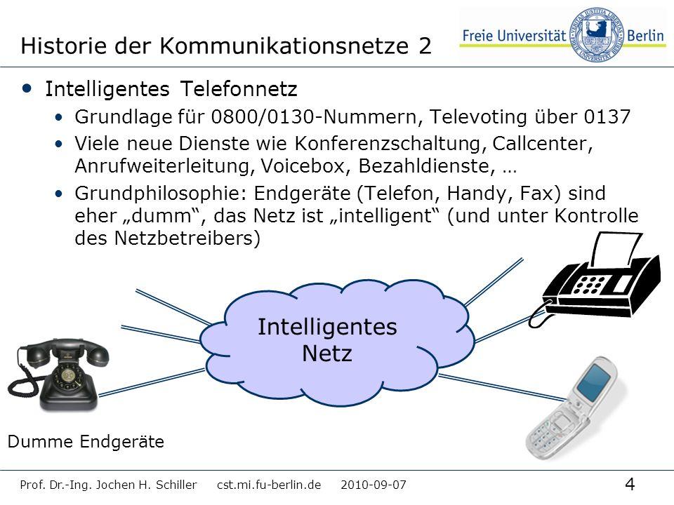 4 Historie der Kommunikationsnetze 2 Intelligentes Telefonnetz Grundlage für 0800/0130-Nummern, Televoting über 0137 Viele neue Dienste wie Konferenzs