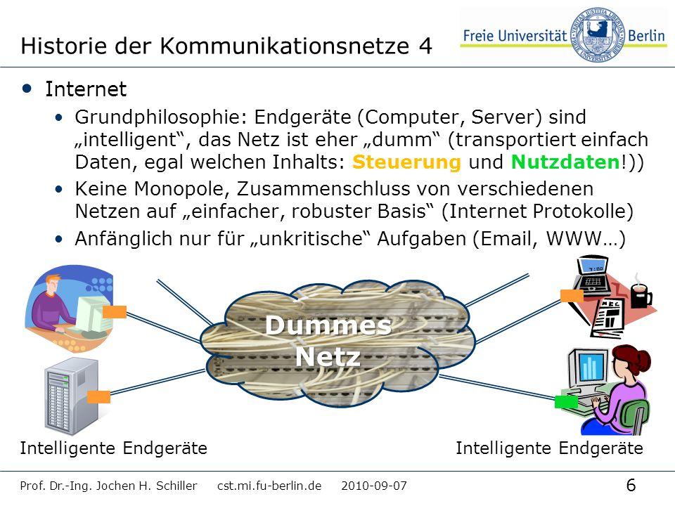 6 Historie der Kommunikationsnetze 4 Internet Grundphilosophie: Endgeräte (Computer, Server) sind intelligent, das Netz ist eher dumm (transportiert e