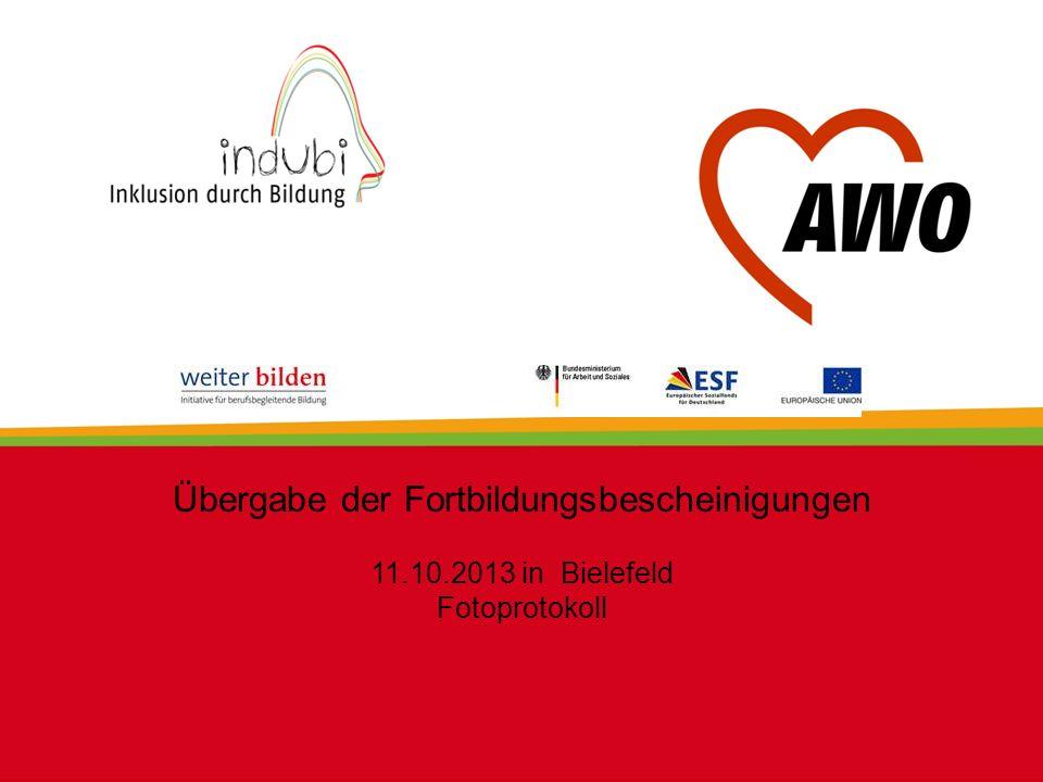 Übergabe der Fortbildungsbescheinigungen 11.10.2013 in Bielefeld Fotoprotokoll