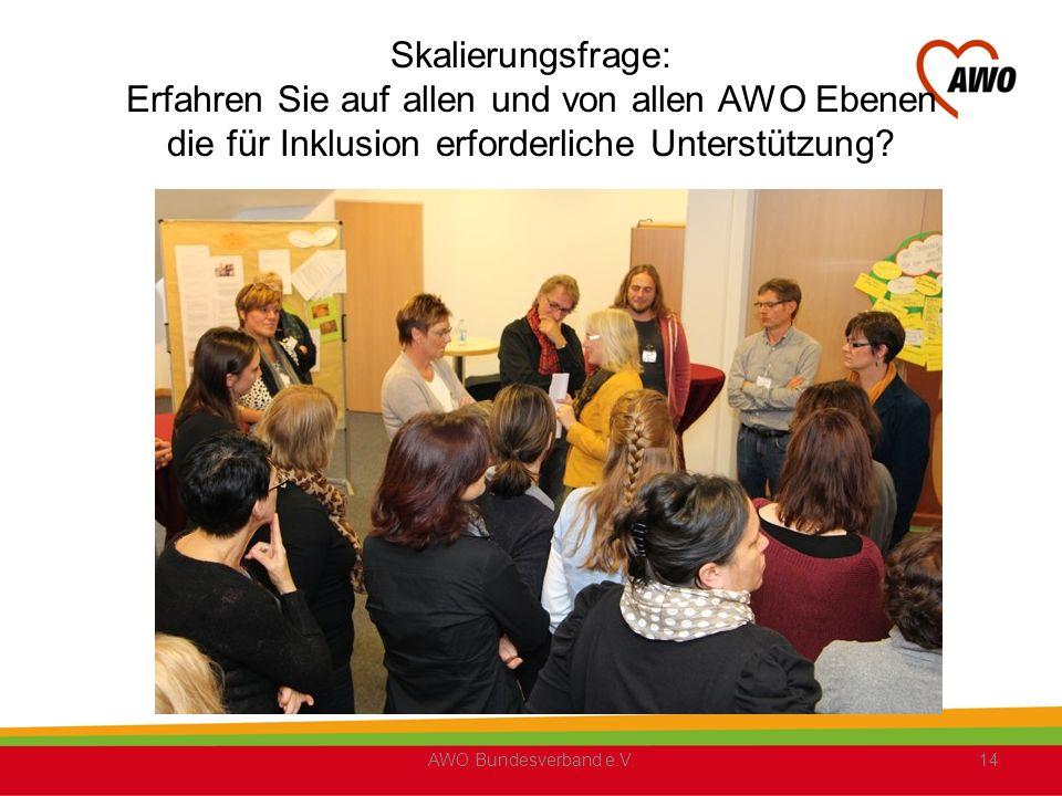 Skalierungsfrage: Erfahren Sie auf allen und von allen AWO Ebenen die für Inklusion erforderliche Unterstützung.