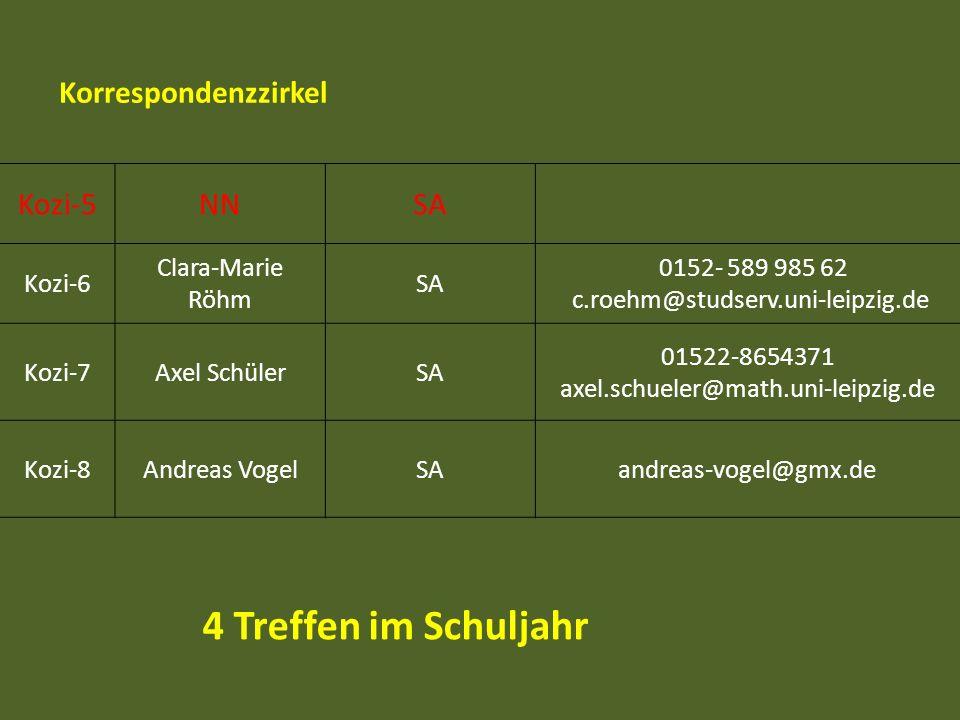 Kozi-5NNSA Kozi-6 Clara-Marie Röhm SA 0152- 589 985 62 c.roehm@studserv.uni-leipzig.de Kozi-7Axel SchülerSA 01522-8654371 axel.schueler@math.uni-leipz