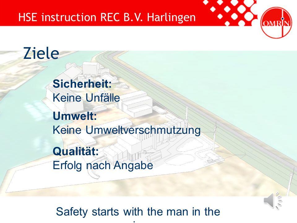 HSE instruction REC B.V. Harlingen Safety starts with the man in the mirror Wilkommen Information: Alle Mitarbeiter SCC Notausgang Telefon ausgeschalt