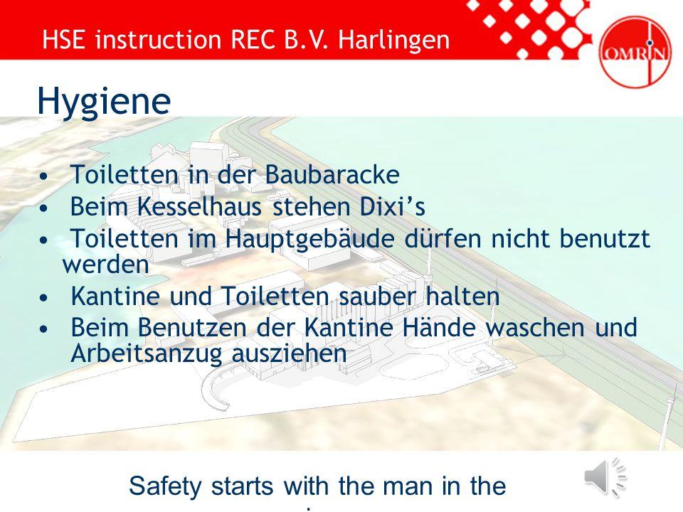 HSE instruction REC B.V. Harlingen Safety starts with the man in the mirror Gefahrzonen absperren mit rot-weissem Band Bei Absperrung einer Zone mit r