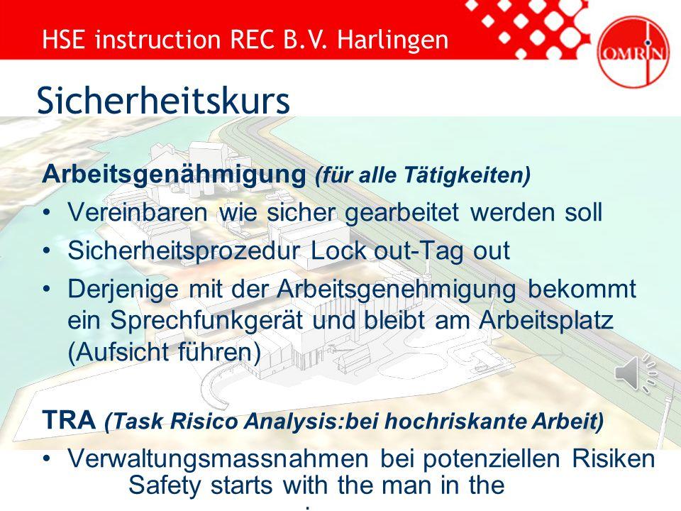 HSE instruction REC B.V. Harlingen Safety starts with the man in the mirror Holländische Verkehrsregel Höchstgeschwindigkeit 15 Kilometer Parken auf d