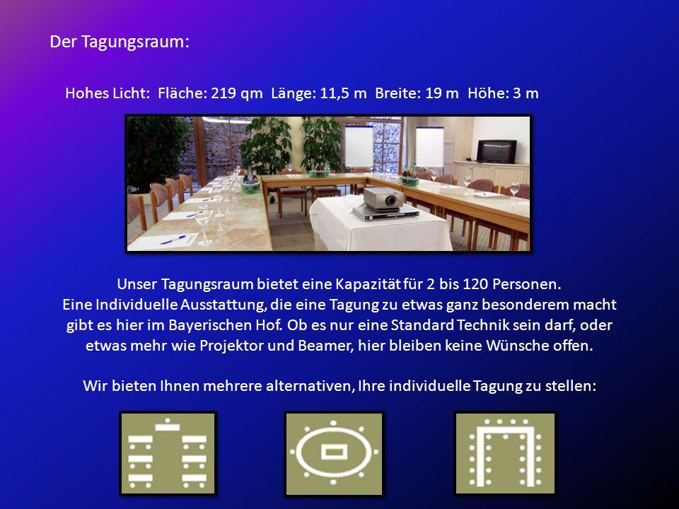Der Tagungsraum: Hohes Licht: Fläche: 219 qm Länge: 11,5 m Breite: 19 m Höhe: 3 m Unser Tagungsraum bietet eine Kapazität für 2 bis 120 Personen.