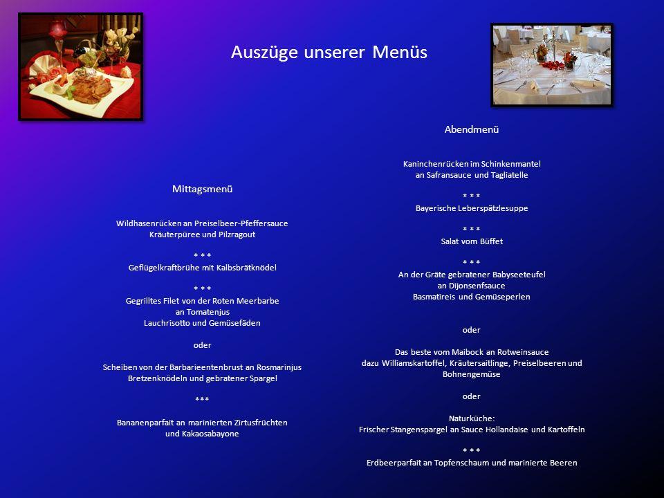 Auszüge unserer Menüs Abendmenü Kaninchenrücken im Schinkenmantel an Safransauce und Tagliatelle * * * Bayerische Leberspätzlesuppe * * * Salat vom Bü