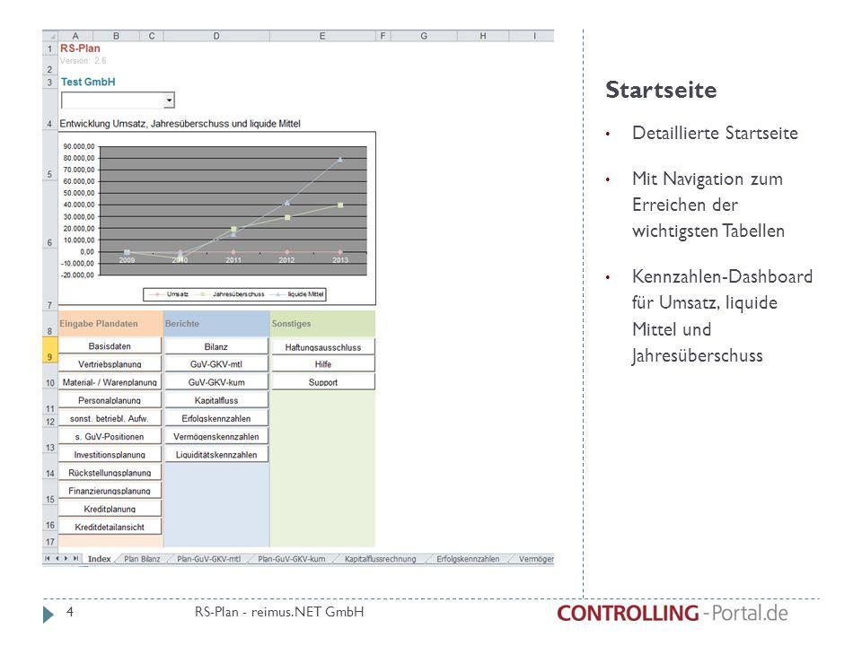 Startseite Detaillierte Startseite Mit Navigation zum Erreichen der wichtigsten Tabellen Kennzahlen-Dashboard für Umsatz, liquide Mittel und Jahresüberschuss RS-Plan - reimus.NET GmbH 4