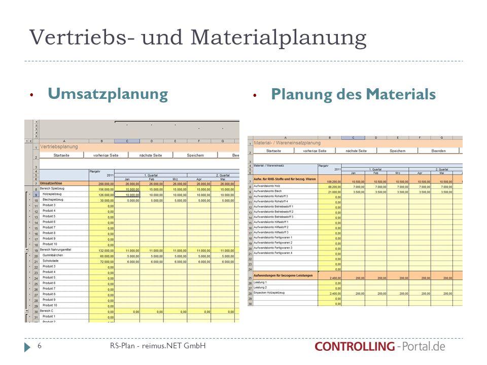 Vertriebs- und Materialplanung Umsatzplanung Planung des Materials RS-Plan - reimus.NET GmbH 6