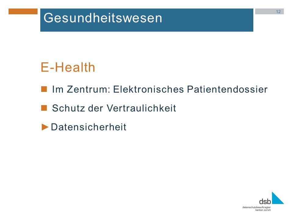 12 Gesundheitswesen Im Zentrum: Elektronisches Patientendossier Schutz der Vertraulichkeit Datensicherheit E-Health