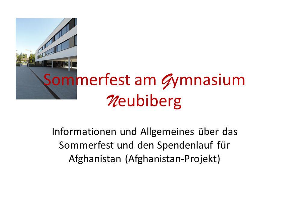 Sommerfest am G ymnasium N eubiberg Informationen und Allgemeines über das Sommerfest und den Spendenlauf für Afghanistan (Afghanistan-Projekt)