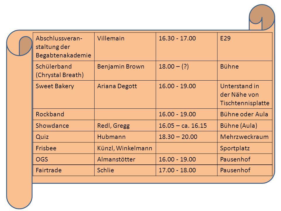 Abschlussveran- staltung der Begabtenakademie Villemain16.30 - 17.00E29 Schülerband (Chrystal Breath) Benjamin Brown18.00 – (?)Bühne Sweet BakeryArian
