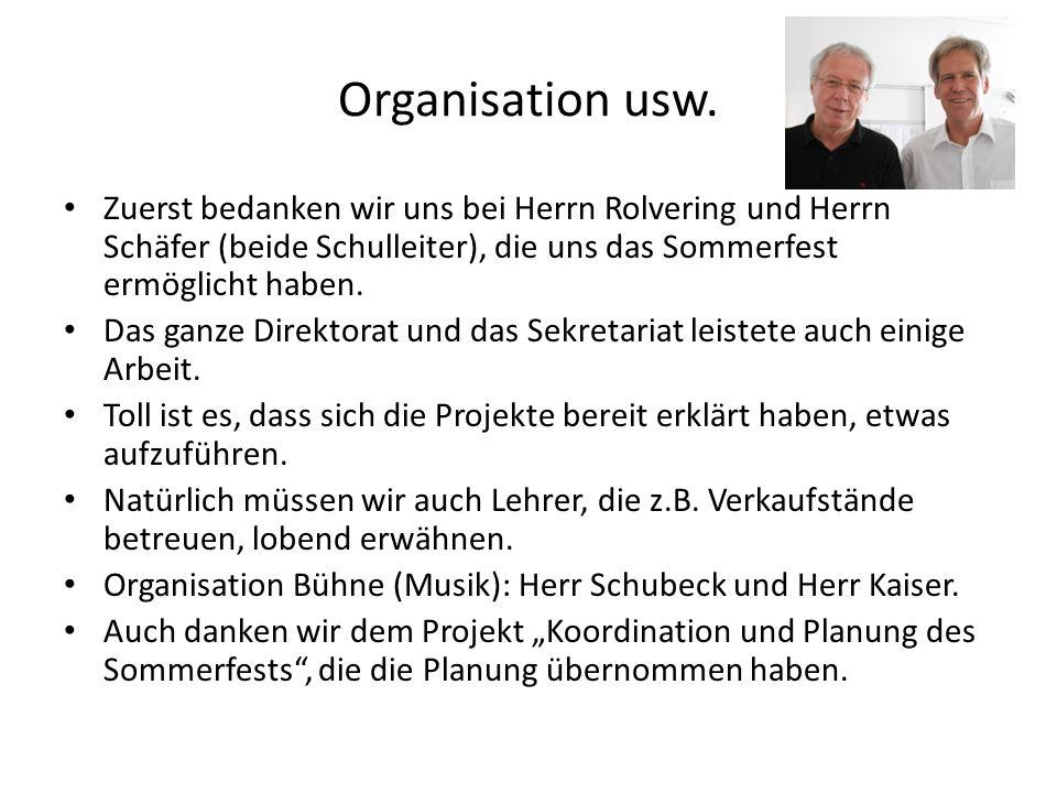 Organisation usw. Zuerst bedanken wir uns bei Herrn Rolvering und Herrn Schäfer (beide Schulleiter), die uns das Sommerfest ermöglicht haben. Das ganz