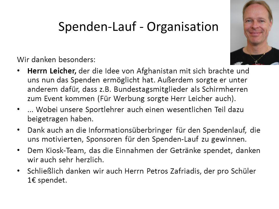 Spenden-Lauf - Organisation Wir danken besonders: Herrn Leicher, der die Idee von Afghanistan mit sich brachte und uns nun das Spenden ermöglicht hat.