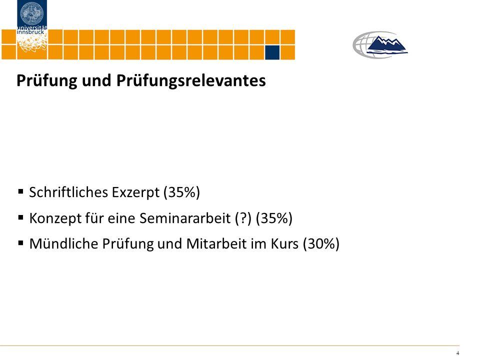 4 Prüfung und Prüfungsrelevantes Schriftliches Exzerpt (35%) Konzept für eine Seminararbeit (?) (35%) Mündliche Prüfung und Mitarbeit im Kurs (30%)